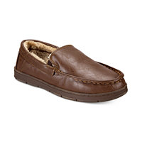 Club Room Mens Faux Leather Memory Foam Moccasin Slippers
