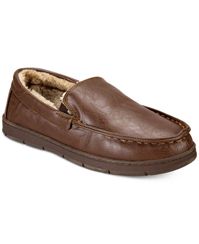 Club Room Men's Faux-Leather-Memory Foam Moccasin Slippers, Created for Macy's