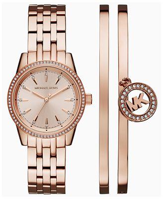 Michael Kors Women S Ritz Rose Gold Tone Stainless Steel Bracelet