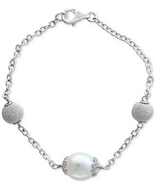 Final Call by EFFY® Cultured Freshwater Pearl (11mm) Link Bracelet in Sterling Silver