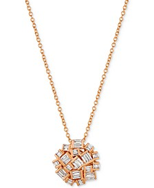 Baguette Frenzy Diamond Cluster Pendant Necklace (3/8 ct. t.w.) in 14k Rose Gold