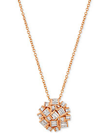 Le Vian® Baguette Frenzy Diamond Cluster Pendant Necklace (3/8 ct. t.w.) in 14k Rose Gold