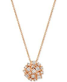 Le Vian® Baguette Frenzy Diamond Cluster Pendant Necklace (3/8 ct. t.w.) in 14k Rose Gold
