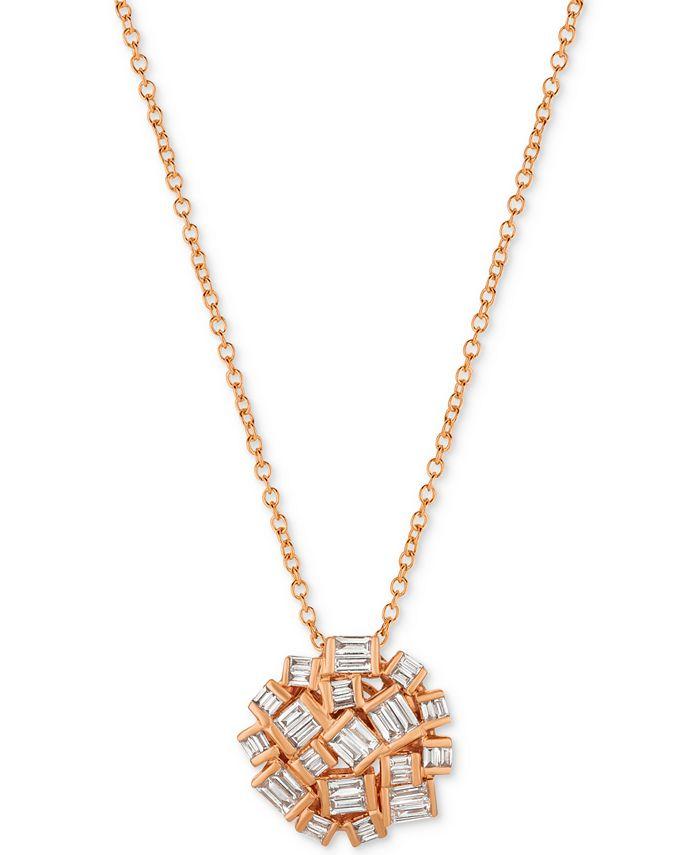Le Vian - Diamond Cluster Pendant Necklace (3/8 ct. t.w.) in 14k Rose Gold