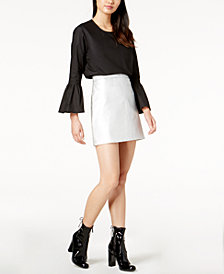 Glam by Glamorous Cotton Bell-Sleeve Top & Faux-Leather Mini Skirt