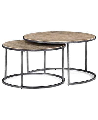 Monterey coffee table round nesting furniture macy39s for Round stacking coffee table