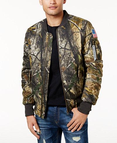 American Stitch Men's Foliage-Print Bomber Jacket