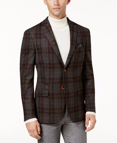 Tallia Men's Slim-Fit Gray/Orange Plaid Soft Sport Coat - Blazers ...