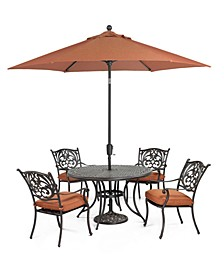 "Chateau Outdoor Cast Aluminum 5-Pc. Set (48"" Round Dining Table and 4 Dining Chairs), Created for Macy's"