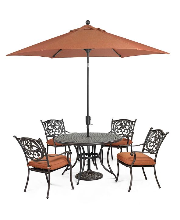 """Furniture Chateau Outdoor Cast Aluminum 5-Pc. Set (48"""" Round Dining Table and 4 Dining Chairs), Created for Macy's"""