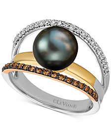 Le Vian Chocolatier® Cultured Black Pearl (10mm) & Diamond (3/8 ct. t.w.) Ring in 14k Gold, White Gold & Rose Gold