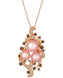 Le Vian Crazy Collection® Pink Cultured Freshwater Pearl (10-11mm) & Multi-Gemstone (1-1/8 ct. t.w.) Pendant Necklace in 14k Rose Gold