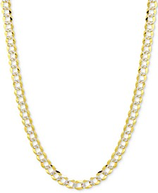 "20"" Two-Tone Open Curb Chain Necklace in Solid 14k Gold & White Gold"