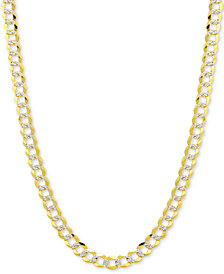 "24"" Two-Tone Open Curb Chain Necklace in Solid 14k Gold & White Gold"