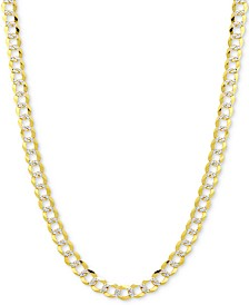 "24"" Two-Tone Open Curb Chain Necklace (5-3/4mm) in Solid 14k Gold & White Gold"