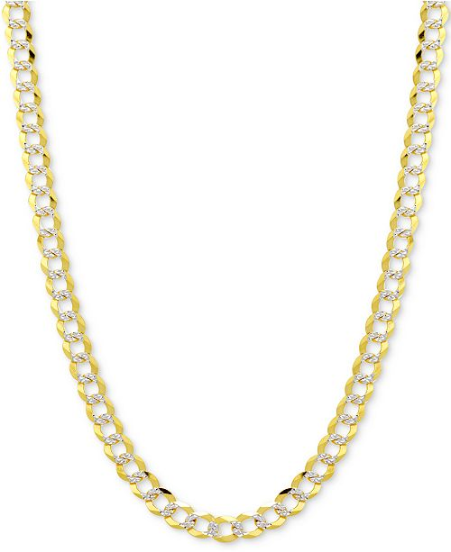 """Italian Gold 20"""" Two-Tone Open Curb Chain Necklace in Solid 14k Gold & White Gold"""