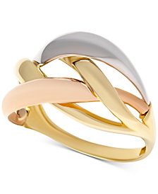 Tri-Color Interlocking Ring in 14k Gold, White Gold & Rose Gold