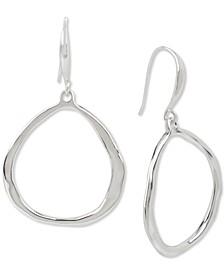 Medium Silver-Tone Sculptural Drop Hoop Earrings
