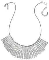 I.N.C. Silver-Tone Sticks & Stones Pavé Statement Necklace, Created for Macy's