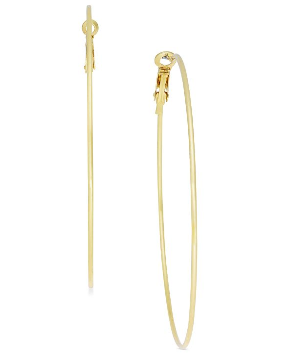 """INC International Concepts INC Extra Large 2.75"""" Gold-Tone Skinny Hoop Earrings, Created for Macy's"""