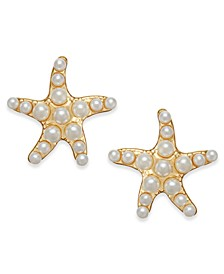 Gold-Tone Imitation Pearl Star Stud Earrings, Created for Macy's