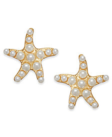Charter Club Gold-Tone Imitation Pearl Star Stud Earrings, Created for Macy's