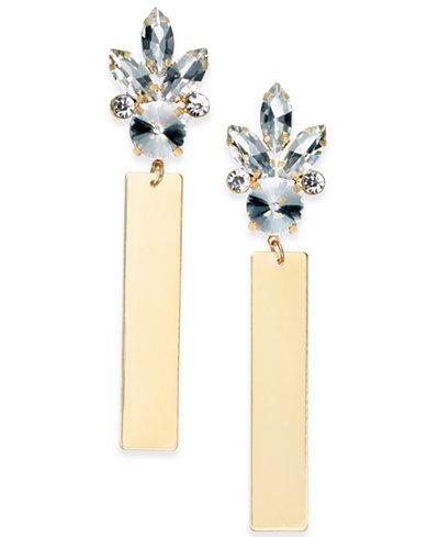 Thalia Sodi Gold-Tone Crystal & Bar Drop Earrings, Created for Macy's