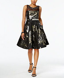 Vince Camuto Metallic Floral-Print Fit & Flare Dress
