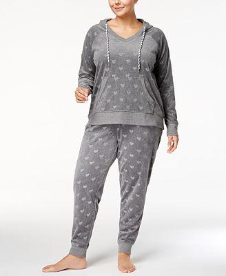 Jenni by Jennifer Moore Plus Size Printed Velour Pajama Set, Created for Macy's