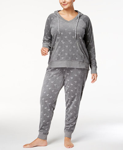 Jenni by Jennifer Moore Plus Size Printed Velour Pajama Set, Created for Macy's