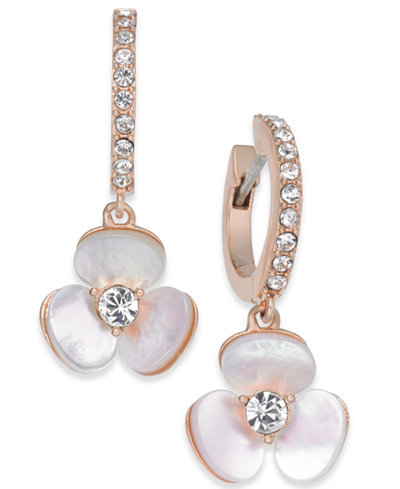 14k Rose Gold Plated Pavé Mother Of Pearl Flower Drop Earrings