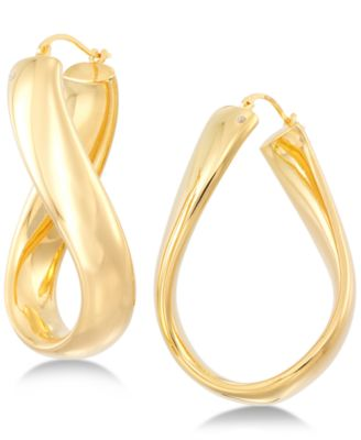 Signature Gold Wavy Hoop Earrings in 14k Gold over Resin Created