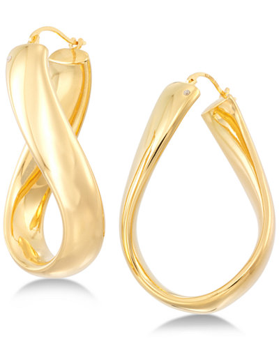 Signature Gold Wavy Hoop Earrings in 14k Gold over Resin, Created for Macy's