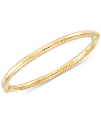 Signature Gold Polished Hinged Bangle Bracelet, Created for Macy's