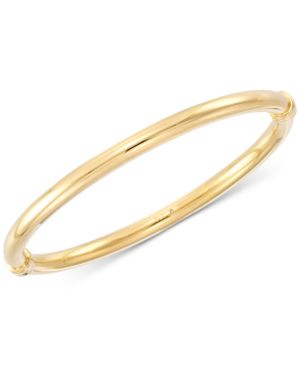 Signature Gold Polished Hinged Bangle Bracelet, Created for Macy's