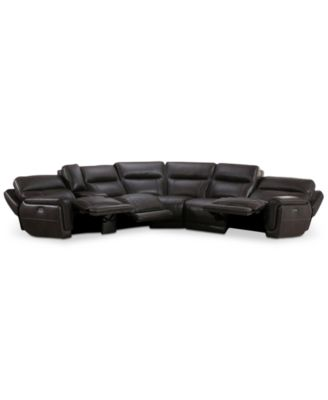 Summerbridge 6-Pc. Leather Sectional Sofa with 3 Power Reclining Chairs, Power Headrests, and Console with USB Power Outlet