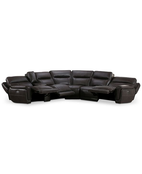 Furniture Summerbridge 6-Pc. Leather Sectional Sofa with 3 Power Reclining Chairs, Power Headrests, and Console with USB Power Outlet