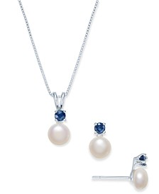 Cultured Freshwater Pearl (6mm) & Sapphire (1/2 ct. t.w.) Jewelry Set in Sterling Silver