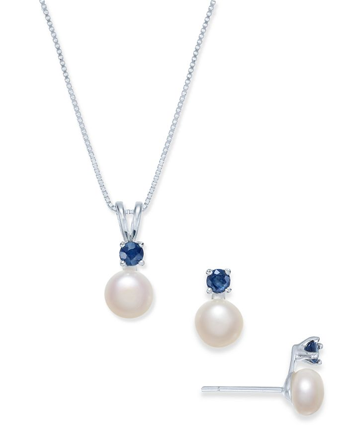 Macy's - Cultured Freshwater Pearl (6mm) & Sapphire (1/2 ct. t.w.) Jewelry Set in Sterling Silver