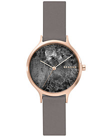 Skagen Women's Anita Grey Leather Strap Watch 34mm