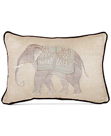 "Sanderson Mapperton 128-Thread Count Elephant Print 12"" x 18"" Decorative Pillow"