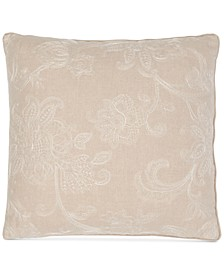 "Delphiniums Embroidery 128-Thread Count 20"" x 20"" Decorative Pillow"