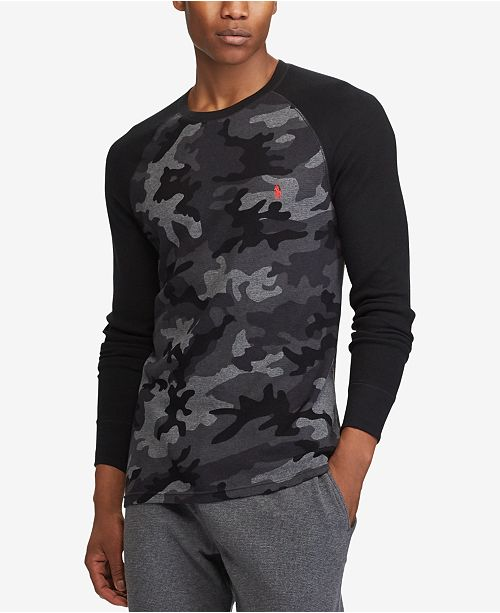 eac37181 Polo Ralph Lauren Men's Camo Waffle-Knit Thermal Shirt & Reviews ...