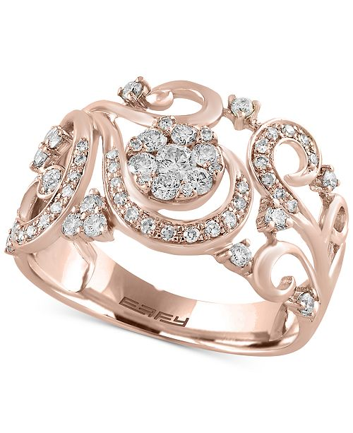 EFFY Collection Effy Diamond Filigree Floral Ring (1/2 ct. t.w.) in 14k Gold or Rose Gold