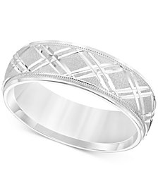 Men's Engraved Crisscross Swiss Cut Wedding Band in 14k White Gold