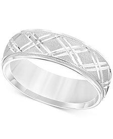 Men's Engraved Crisscross Swiss Cut Wedding Band in 14k White Gold