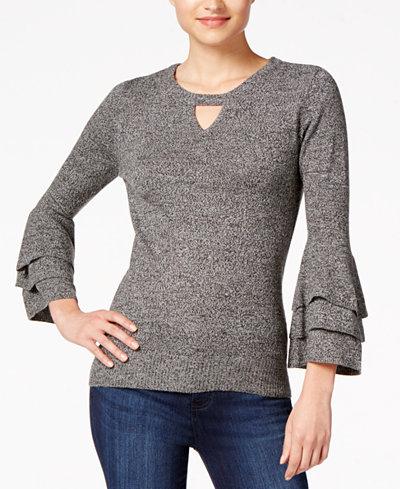 BCX Juniors' Ruffle-Sleeve Sweater