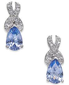 Tanzanite (3/4 ct. t.w.) & Diamond (1/8 ct. t.w.) Drop Earrings in 14k White Gold