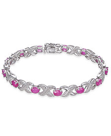 Certified Ruby (7 ct. t.w.) & Diamond Accent Link Bracelet in Sterling Silver