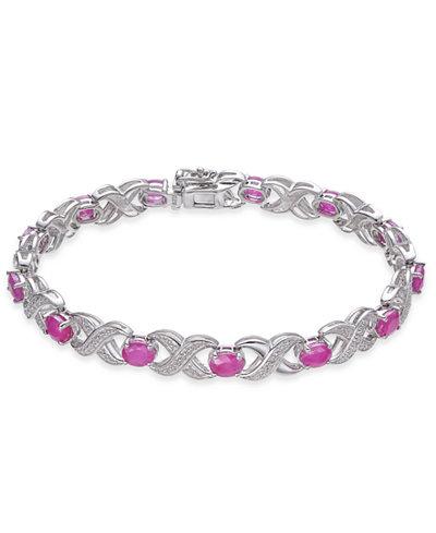 Certified Ruby (7 ct. t.w.) & Diamond Accent Link Bracelet in Sterling Silver